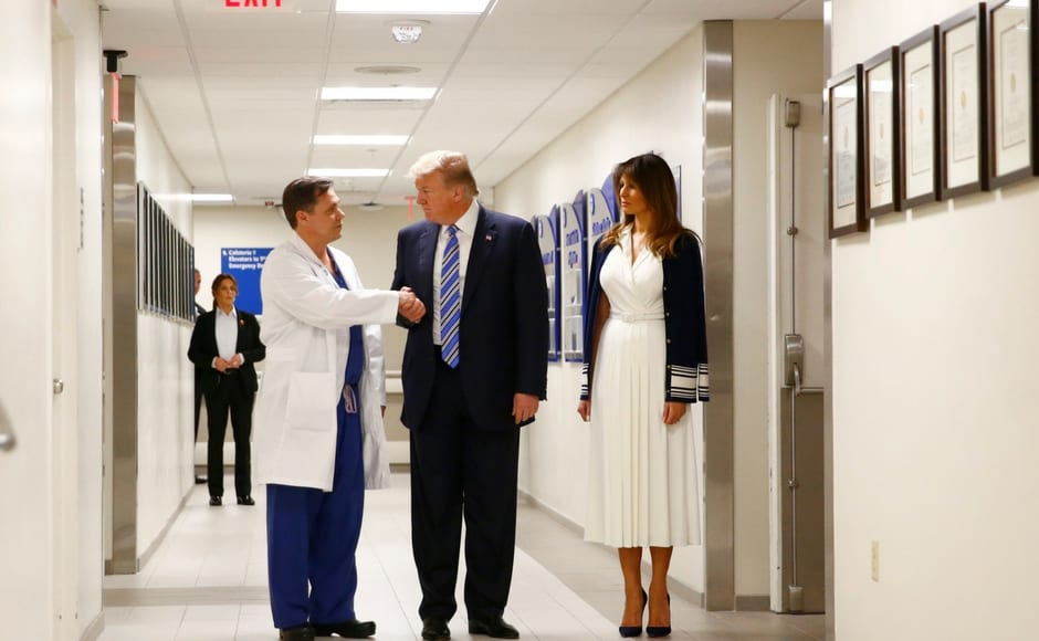 Trump thanked the doctors, nurses and first responders for their incredible work, and described the carnage as 'very sad.' Reuters