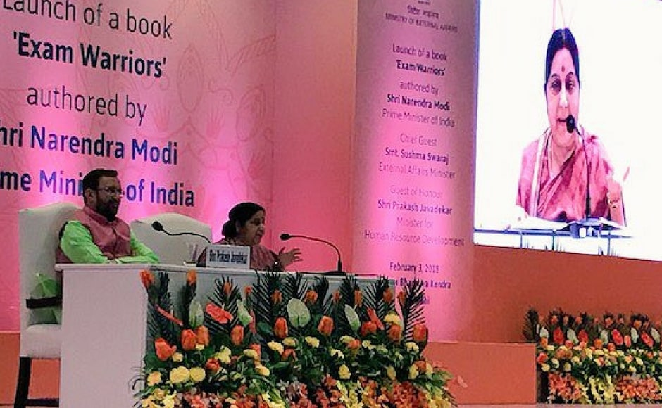 Swaraj also encouraged students not to fear examinations just like the prime minister does not fear elections. She suggested that the students should compete with themselves, and not others. Twitter@USAmbIndia