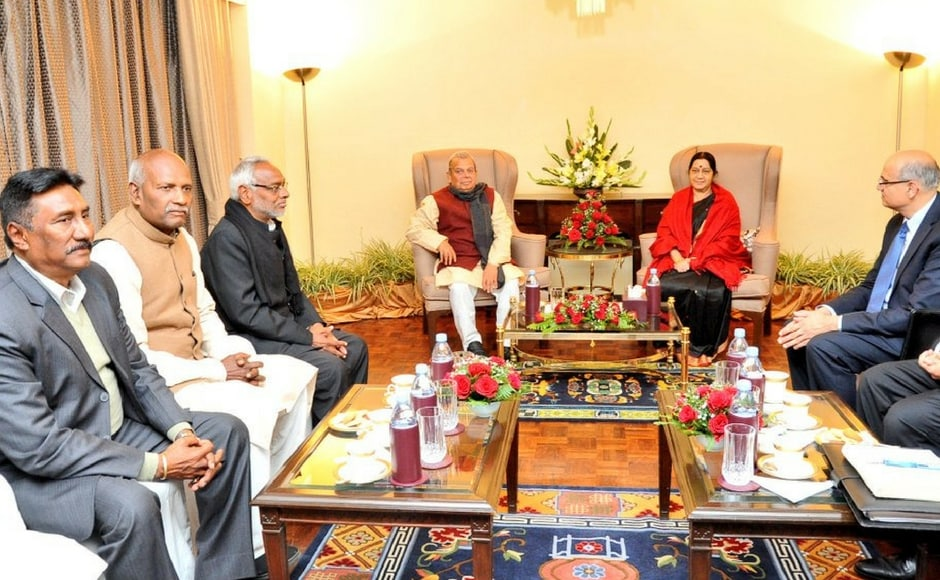 Indian external affairs minister Sushma Swaraj was in Kathmandu on a two-day visit as the Left alliance in Nepal prepares to form a new government most likely to be led by former prime minister KP Sharma Oli. Twitter@MEAIndia