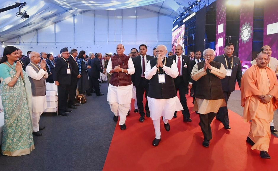 The event has been organized by Uttar Pradesh government to showcase the investment opportunities and potential in the state. PTI