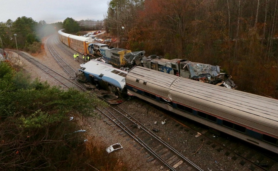 An Amtrak passenger train travelling on the wrong track collided with a parked CSX Corp freight train in South Carolina on Sunday, killing the engineer and conductor and injuring at least 116. AP
