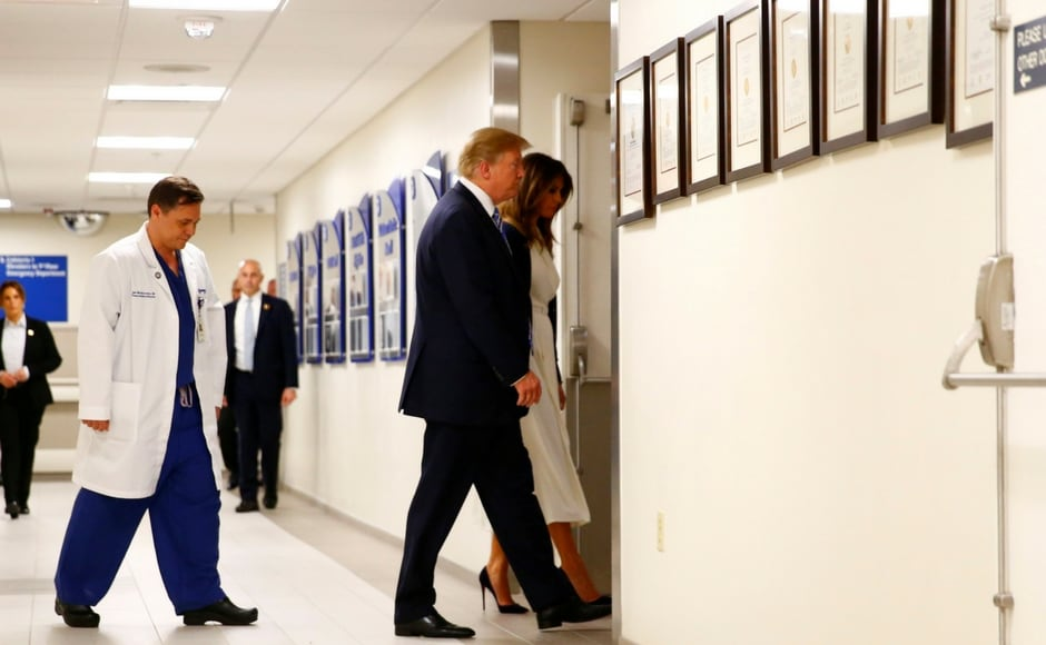 US president Donald Trump and first lady Melania visited Broward Health North hospital on Friday to meet and offer comfort to those wounded in the Florida mass school shooting. Reuters