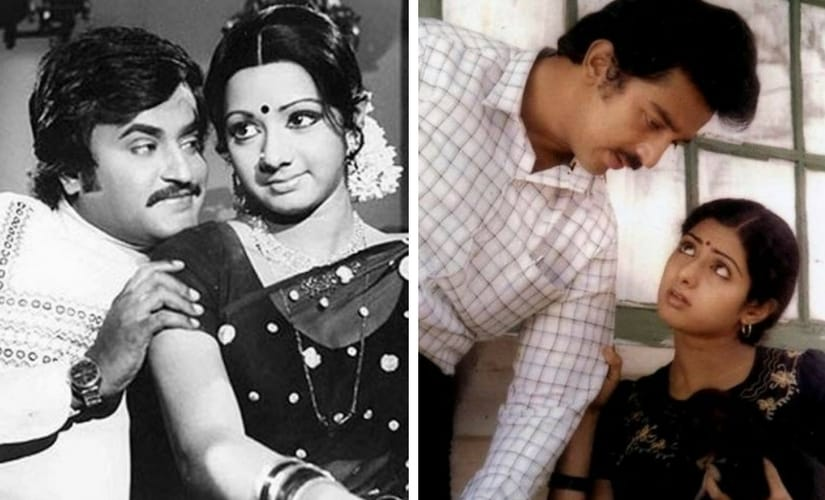Sridevi and Rajinikanth; Sridevi and Kamal Haasan. Images from Twitter/@TBReporter and @moviemagic_in