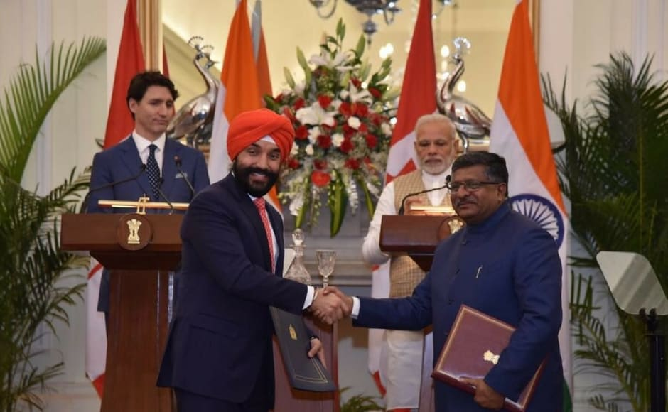 A joint declaration for enhancing Cooperation in the field of Information and Communications Technology and Electronics between India and Canada was also exchanged between Ravi Shankar Prasad and his Canadian counterpart Navdeep Bains. Twitter@MEAIndia