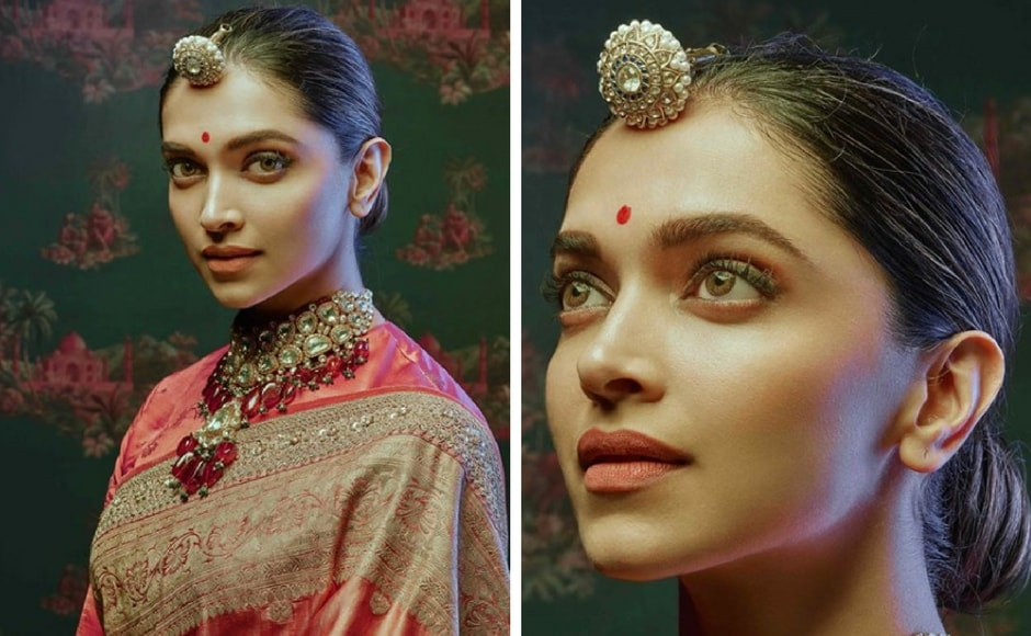 Padukone wears a traditional Rajasthani borla along with a benarasi saree in 'India Moghol' from Sabyasachi's latest collection Nilaya. Instagram/@sabyasachiofficial