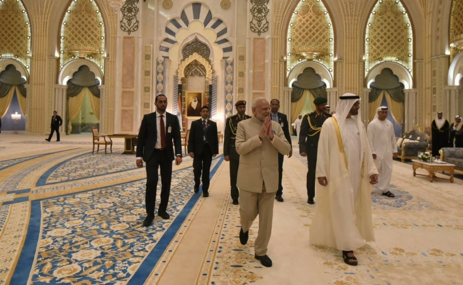 The prime minister thanked the crown prince for the special gesture of receiving him at the airport and said his visit will have a positive impact on India-UAE ties. Twitter@narendramodi