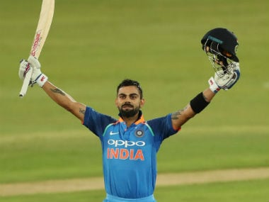 Virat Kohli celebrates after bringing up his 35th ODI ton. Image credit: Twitter/@ICC