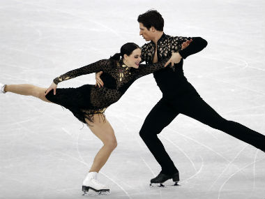 Tessa Virtue and Scott Moir in action during the Ice Dance Short Dance event on Sunday. Reuters