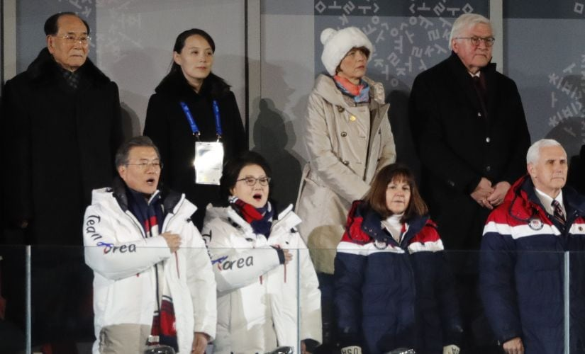 From Left: President of South Korea Moon Jae-in, his wife Kim Jung-Sook, President of the Presidium of the Supreme People's Assembly of North Korea Kim Young Nam, Kim Yo-Jong, the sister of North Koreas leader Kim Jong-un, German President Frank-Walter Steinmeier and US Vice President Mike Pence during the opening ceremony. Reuters