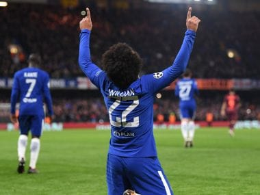 Willian caused Barcelona problems throughout the evening during the Champions League R-16 1st leg match at Stamford Bridge. Twitter/@ChelseaFC