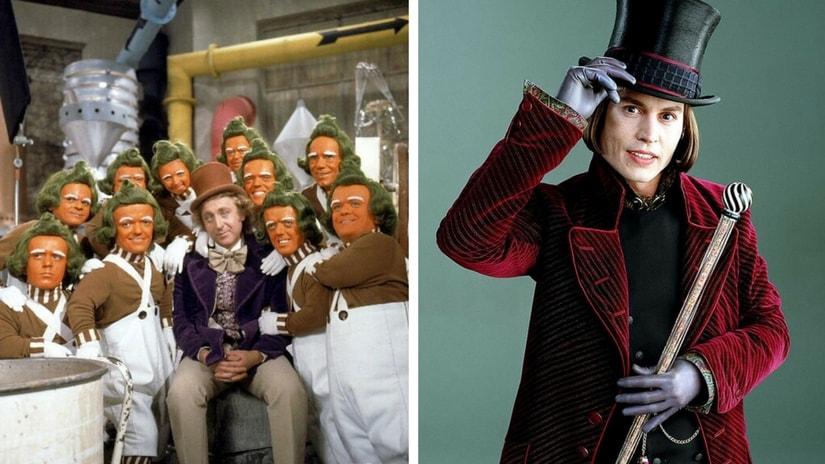 Gene Wilder as Willy Wonka in the 1971 film Willy Wonka and the Chocolate Factory (left); Johnny Depp as Willy Wonka (right). Facebook
