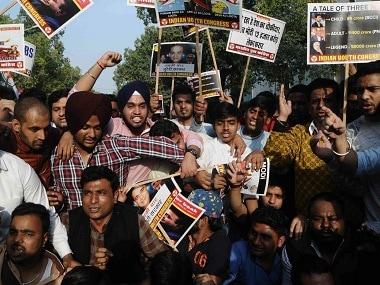 Youth Congress members demonstrate in New Delhi. Firstpost/Debobrat Ghose