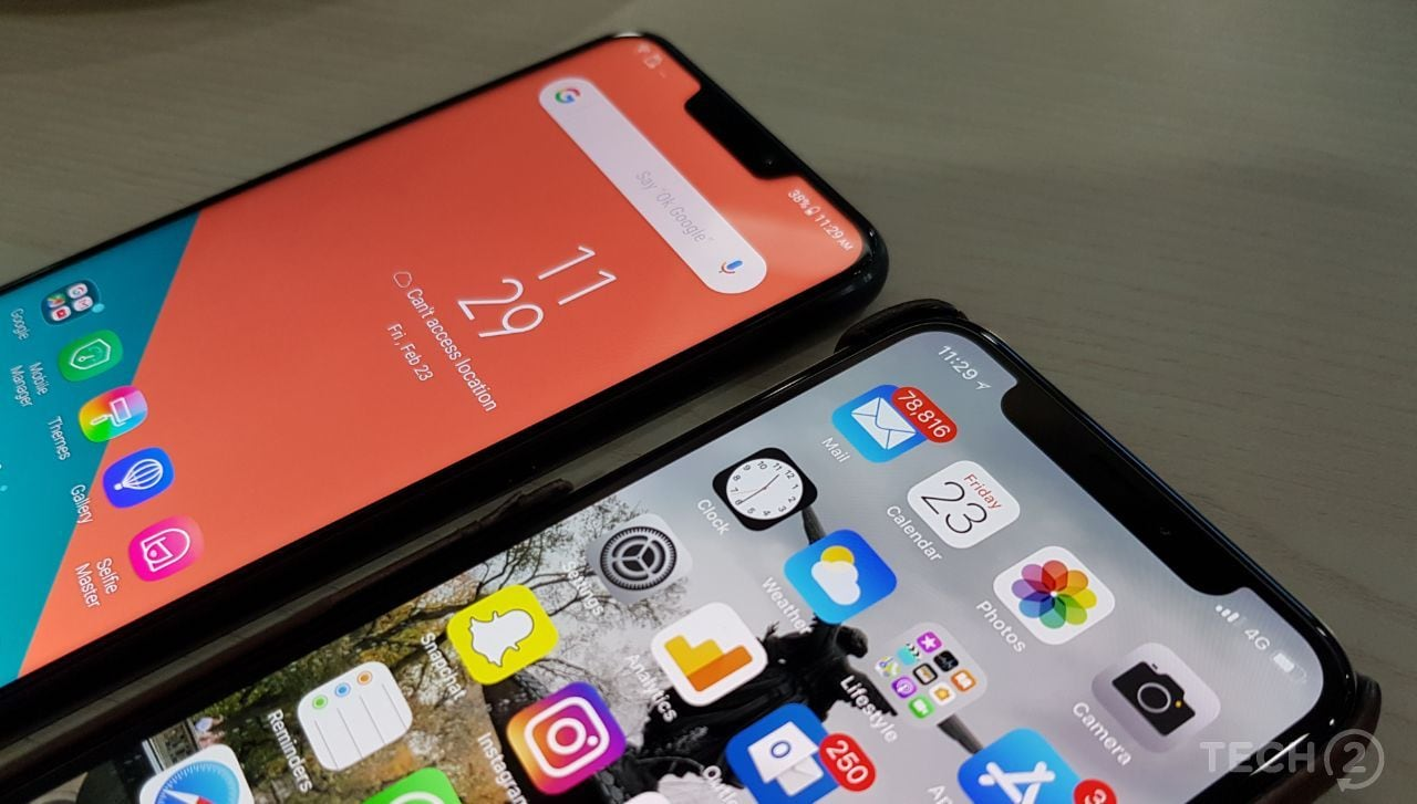 Asus ZenFone 5 compared with the Apple iPhone X. Image: Tech2