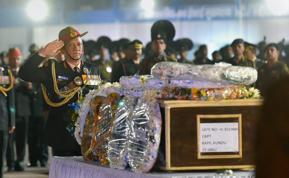 General Bipin Singh Rawat paid his tribute to the slain officer. Kundu is survived by his mother and two sisters. He lost his father at an early age. Kundu would have turned 23 on Saturday. PTI