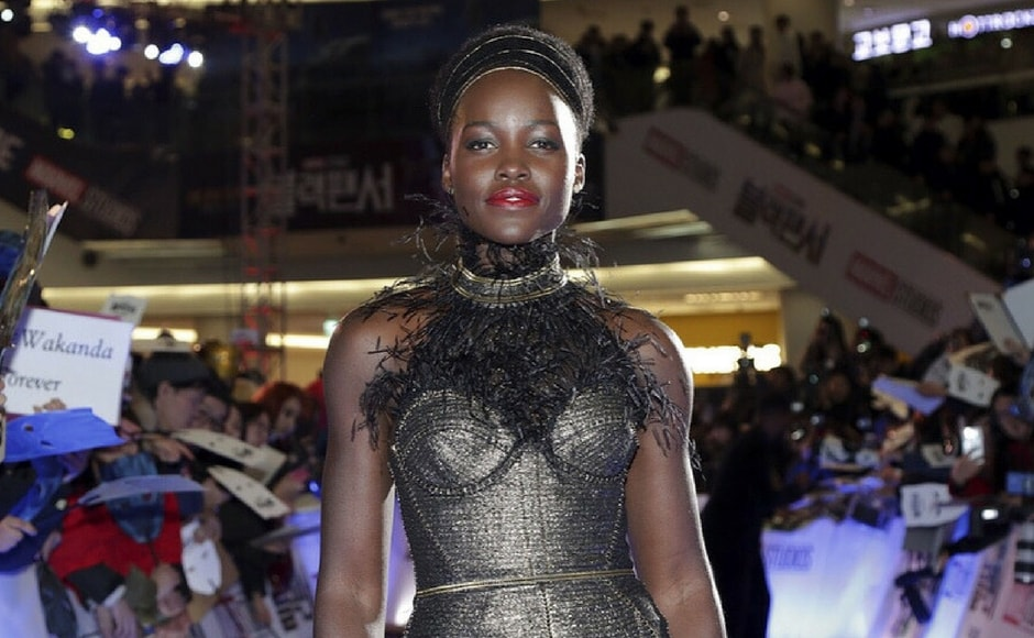Lupita Nyong'o arrives at the 'black carpet' at the Seoul premiere of Black Panther/Image from Instagram/@marvelstudios