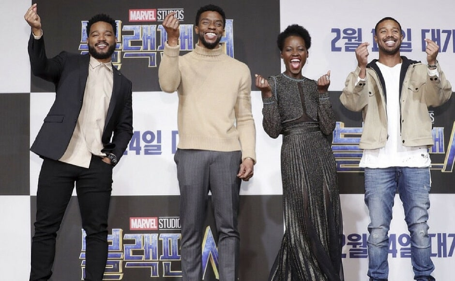 The cast of Black Panther with director Ryan Coogler at the Seoul premiere of Black Panther/Image from Instagram/@marvelstudios