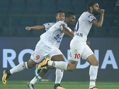 Delhi Dynamos FC's Matias Mirabaje scored the winner in the second minute of stoppage time. Image courtesy: Twitter @IndSuperLeague