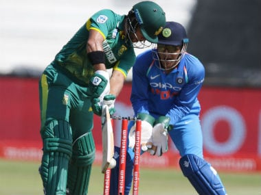 South African batsman JP Duminy is bowled by India's Kuldeep Yadav during the first ODI in Durban. AFP