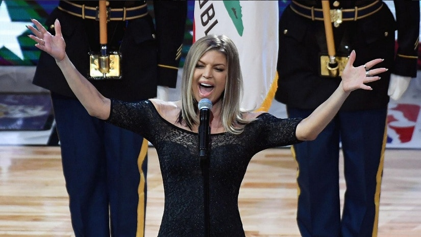 Fergie during her performance. Image from Twitter/@CBSSportsNBA