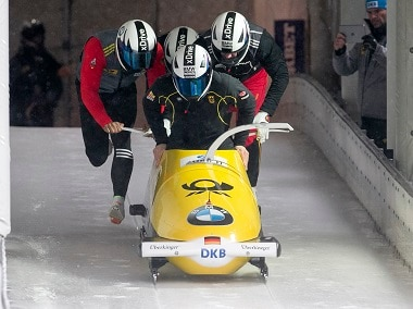 The German team in action during the Bobsleigh and Skeleton World Championships last year. REUTERS