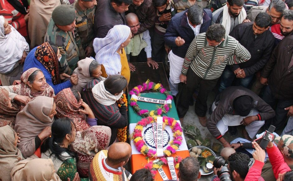 Havildar Roshan Lal was also one of the four soldiers killed in the Pakistani shelling. Relatives and family members of Lal (43) mourn during his funeral ceremony at his native village Nachlah in Samba, about 60 kilometres from Jammu on Monday. Lal was given a 21-gun salute and a military funeral. PTI
