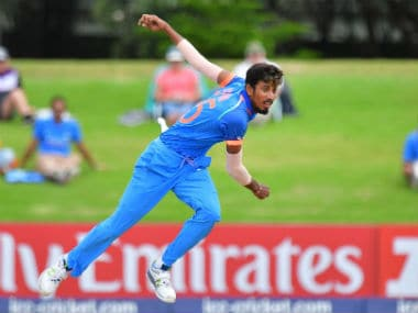 India's Ishan Porel bowls during the U-19 World Cup final against Australia in Mount Maunganui. AFP