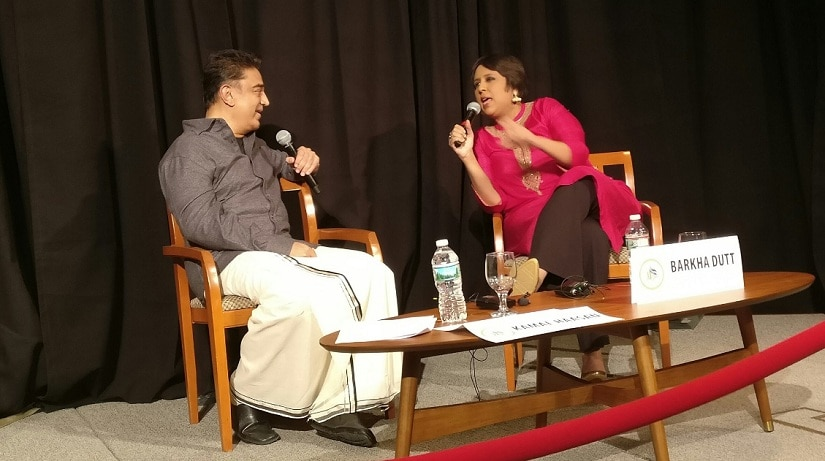 Kamal Haasan and Barkha Dutt. Image from Twitter/@BDUTT