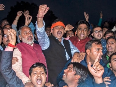 Delhi BJP President Manoj Tiwari with BJP workers shout slogans against Delhi CM Arvind Kejriwal over the alleged assaulted of Delhi Chief Secretary, Anshu Prakash by AAP MLAs at CM's residence, during a protest in New Delhi on Tuesday. PTI