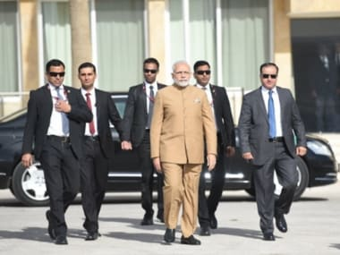 Narendra Modi departs for Palestine to meet President Mr. Mahmoud Abbas and visit the Mausoleum and museum of late President Yasser Arafat. Image couresy: PMOIndia