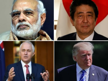 File image (clockwise) of Prime Minister Narendra Modi, Japanese PM Shinzo Abe, Australian PM Malcolm Turnbull and US president Donald Trump. PTI, Reuters and AP