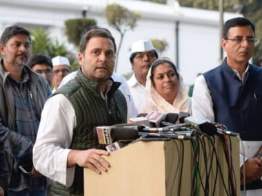 Congress president Rahul Gandhi after the steering committee meeting on Saturday. Twitter@INCIndia