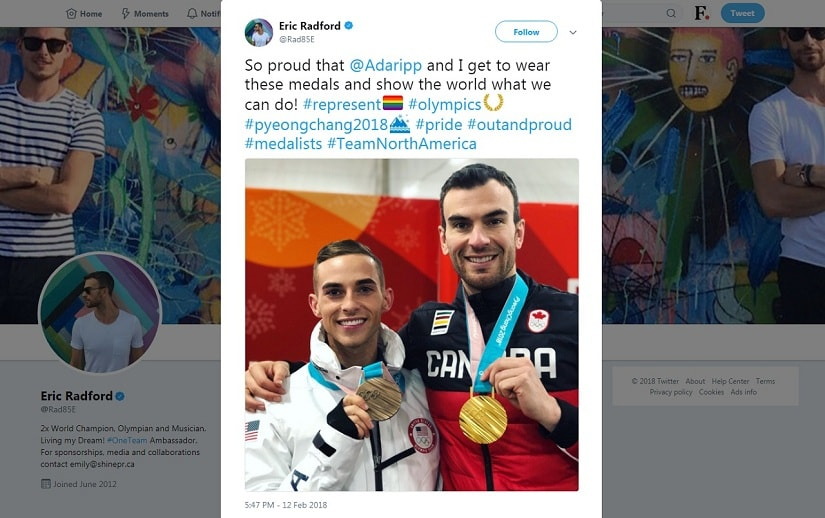 Eric Radford's tweet celebrating his and Adam Rippon's wins at the PyeongChang Winter Olympics 2018. Screenshot via Twitter/@Rad85E