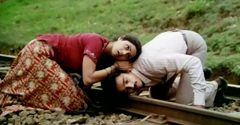 Sridevi and Kamal Haasan in a still from Sadma. Image from Twitter/@GabbbarSingh