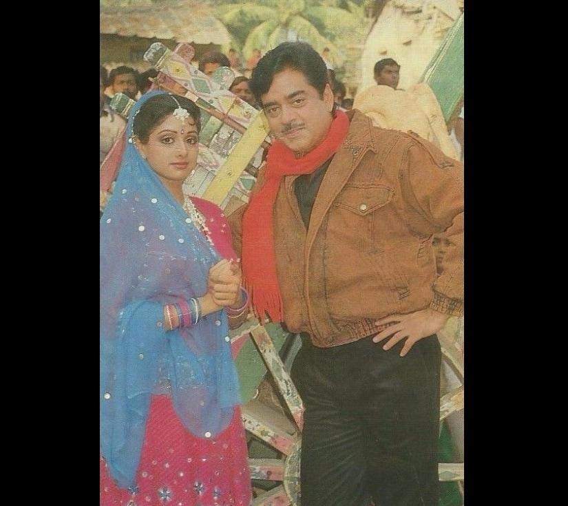 Sridevi and Shatrughan Sinha. Image from Twitter/@VintageMuVyz