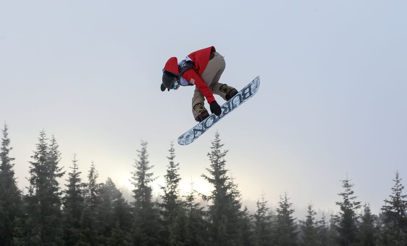 File image of a snowboarder competing in the slopestyle event. REUTERS