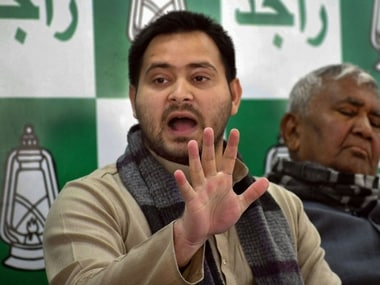 RJD leader Tejaswi Yadav at a press conference in Patna on Thursday. PTI