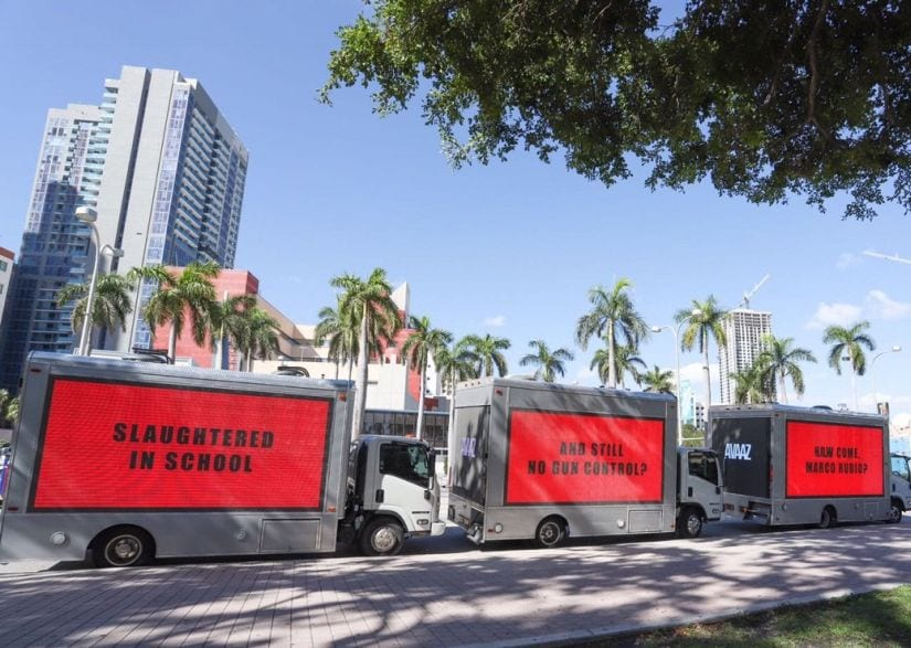 Three Billboards Outside Miami, Florida. Twitter/Avaaz