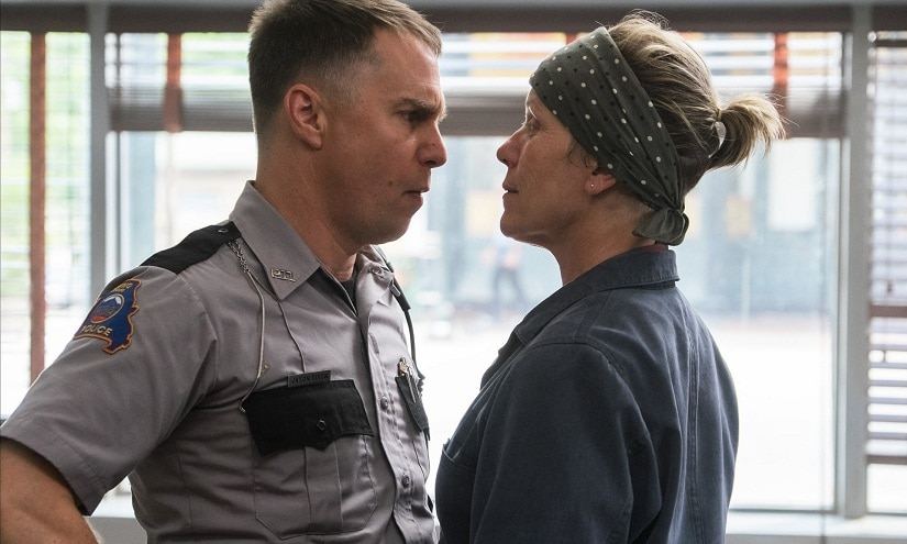 Sam Rockwell and Frances McDormand in a still from Three Billboards Outside Ebbing, Missouri. YouTube