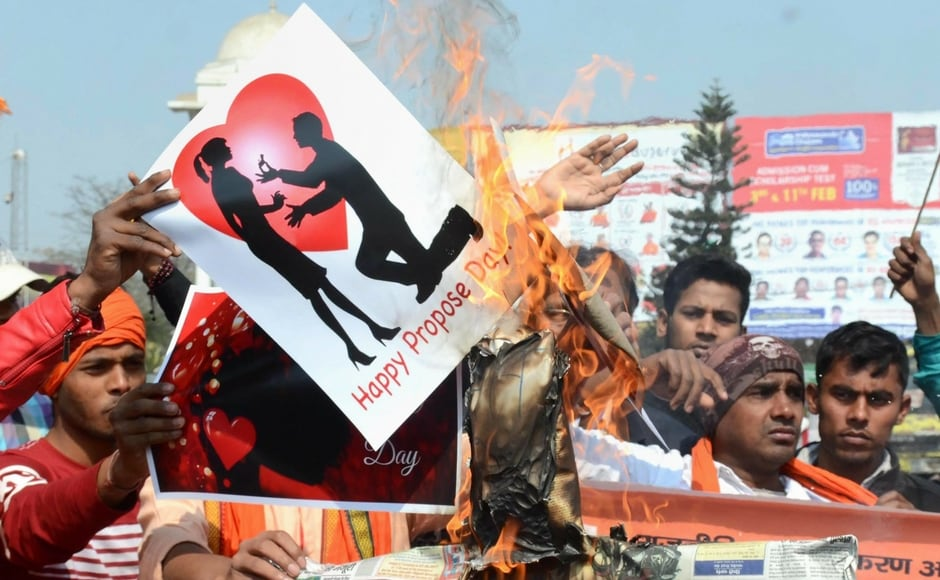 Members of the Vishwa Hindu Parishad (VHP), an affiliate of RSS, launched a protest in Patna. In Ahmedabad, ten activists of the VHP and Bajrang Dal were detained after they allegedly tried to chase away young couples who had gathered at the Sabarmati Riverfront. PTI