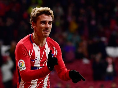 Atletico Madrid's French forward Antoine Griezmann celebrates his third goal during the Spanish league football match Club Atletico de Madrid against Club Deportivo Leganes SAD at the Wanda Metropolitano stadium in Madrid on February 28, 2018. / AFP PHOTO / PIERRE-PHILIPPE MARCOU