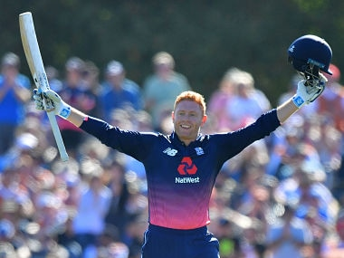 England's Jonny Bairstow celebrates 100 runs during the fifth and final ODI cricket match between New Zealand and England at Hagley Oval in Christchurch on March 10, 2018. / AFP PHOTO / Marty MELVILLE