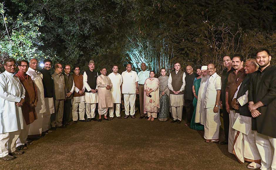 Leaders of 20 Opposition parties on Tuesday night got together at a dinner hosted by UPA chairperson Sonia Gandhi, where possibilities of putting up a united front to defeat the BJP in the next general elections were discussed. PTI