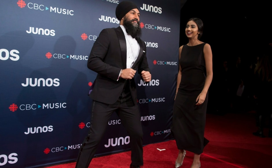 Federal NDP Leader Jagmeet Singh and Gurkiran Kaur arrive at the Juno Awards/Darryl Dyck/The Canadian Press via AP