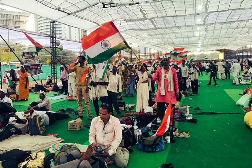 New Delhi's Ramlila Maidan was sparsely populated with protestors, farmers and others, who came to align their cause with Anna Hazare's. Firstpost/Pallavi R