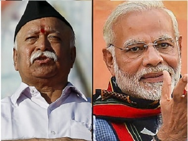 File image of RSS chief Mohan Bhagwat and Prime Minister Narendra Modi. PTI