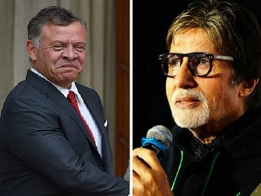 File image of Jordan King Abdullah II and Bollywood actor Amitabh Bachchan. PTI