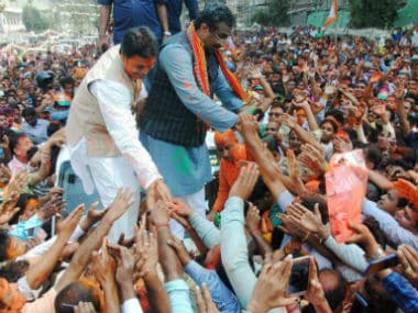 Tripura BJP chief Biplob Kumar Deb and Ram Madhav celebrating party's victory in the recently concluded Tripura Assembly Election. PTI