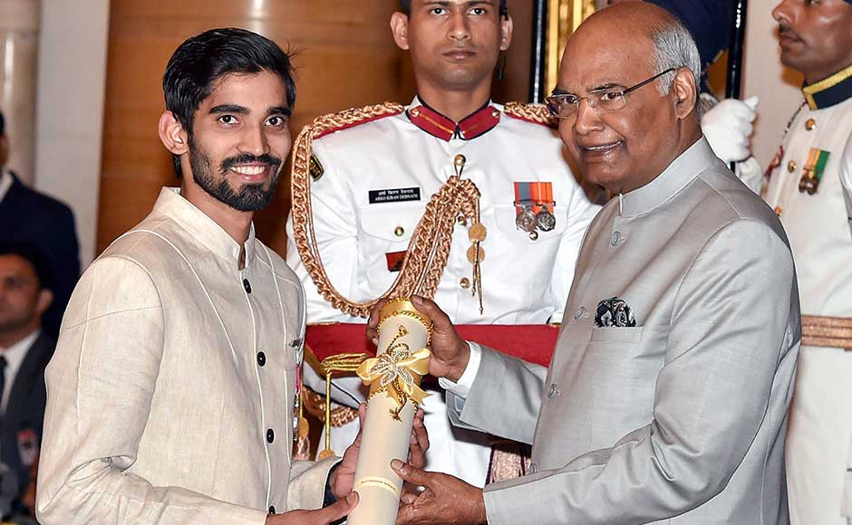 Among the 37 prominent personalities who were given the Padma Shri awards are Badminton player Kidambi Srikanth, Arvind Gupta, an IIT Kanpur alumnus who inspired generations of students to learn science from thrash and Lakshmikutty, a tribal woman from Kerala who prepares 500 herbal medicine from memory. Kovind awards the Padma Shri award to Srikanth. PTI
