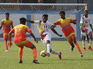 Semi-final action between Bengal and Karnataka in the Santosh Trophy. Image Courtesy: Agencies