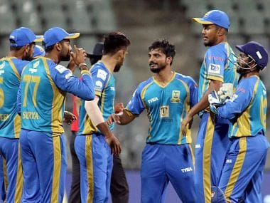 Triumph Knights players celebrate the fall of a wicket. Image courtesy: T20 Mumbai league.
